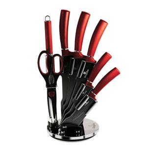 Sada nožů ve stojanu s nepřilnavým povrchem 8 ks Burgundy Metallic Line