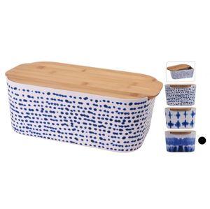 Chlebovka s krájecí deskou bambusová bílomodrá